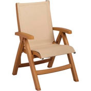 Grosfillex® Belize Midback Folding Sling Chair - Khaki Sling/Teakwood Frame (Sold in Pk. Qty 2) - Pkg Qty 2