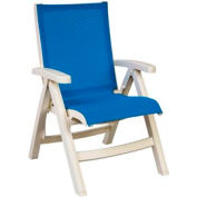 Grosfillex® Belize Midback Folding Sling Chair - Blue Sling/White Frame (Sold in Pk. Qty 2) - Pkg Qty 2