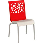 Grosfillex® Tempo Chair, Red / White  4 Pack - Pkg Qty 4