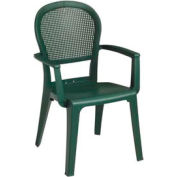 Grosfillex® Seville Highback Outdoor Armchair - Metal Green (Sold in Pk. Qty 4) - Pkg Qty 4