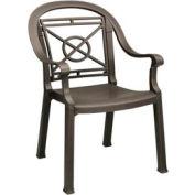 Grosfillex® Victoria Dining Outdoor Armchair - Bronze Mist (Sold in Pk. Qty 4) - Pkg Qty 4