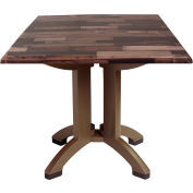 "Grosfillex® 32"" Square Outdoor Table - Shiplap Décor - Atlanta Series"