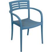 Grosfillex® Outdoor Stacking Armchair - Denim Blue - Vogue Series - Pkg Qty 4