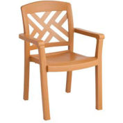 Grosfillex® Sanibel Outdoor Armchair - Teakwood (Sold in Pk. Qty 4) - Pkg Qty 4