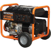 GENERAC® 5943, 7500 Watts, Portable Generator, Gasoline, Electric/Recoil Start, 120/240V