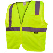 GSS Safety 1001 Standard Class 2 Mesh Zipper Safety Vest, Lime, 2XL