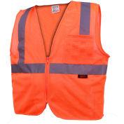 GSS Safety 1002 Standard Class 2 Mesh Zipper Safety Vest, Orange, Large