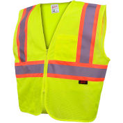 GSS Safety 1005 Standard Class 2 Two Tone Mesh Zipper Safety Vest, Lime, Medium