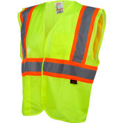 GSS Safety 1007 Standard Class 2 Two Tone Mesh Hook & Loop Safety Vest, Lime, Medium