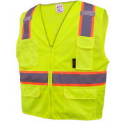 GSS Safety 1501 Multi-Purpose Class 2 Two Tone Mesh Zipper 6 Pockets Vest, Lime, 2XL