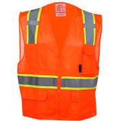 GSS Safety 1502 Multi-Purpose Class 2 Two Tone Mesh Zipper 6 Pockets Vest, Orange, XL