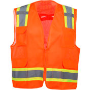 GSS Safety 1504 Premium Class 2 Fall Protection Mesh 6 Pockets Safety Vest, Orange , XL