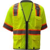 GSS Safety 2701, Class 3, Heavy Duty Safety Vest, Lime, XL
