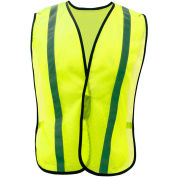 "GSS Safety 3001 Non-ANSI Economy Vest with 1""W Stripe, Lime with Silver Stripe, One Size Fits All"