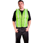 "GSS Safety 3003 Non-ANSI Economy Vest with 1""W Stripe, Lime with White Stripes, One Size Fits All"