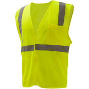 GSS Safety 3501 Class 2 FR Treated Hook & Loop Vest, Lime, Large
