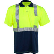 GSS Safety 5003 Class 2 Moisture Wicking Polo Shirt, Navy/Lime, XL