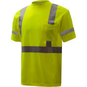 GSS Safety 5007, Class 3, Hi-Viz Moisture Wicking Birdseye Short Sleeve T-Shirt, Lime, 2XL Tall