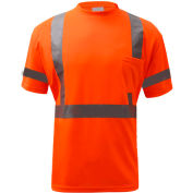 GSS Safety 5008, Class 3, Hi-Viz Moisture Wicking Birdseye Short Sleeve T-Shirt, Orange, M