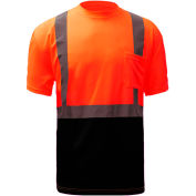 GSS Safety 5112, Class 2, Microfiber Birdseye Short Sleeve T-Shirt W/ Black Bottom, Orange, L