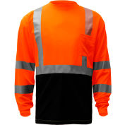 GSS Safety 5114, Class 3, Microfiber Birdseye Long Sleeve T-Shirt W/ Black Bottom, Orange, XL Tall