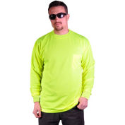 GSS Safety 5503 Moisture Wicking Long Sleeve Safety T-Shirt with Chest Pocket, Lime, XL