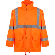 GSS Safety 6002 Class 3 Rain Coat with 2 Patch Pockets, Orange, S/M