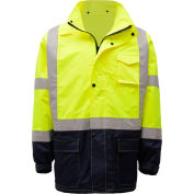 GSS Safety 6003 Class 3 Premium Hooded Rain Coat, Lime with Black Bottom, 2XL/3XL