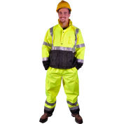 GSS Safety 6803 Class E Premium Waterproof Rain Pants, Lime with Black Bottom, S/M