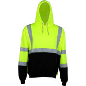 GSS Safety 7001 Class 3 Pullover Fleece Sweatshirt with Black Bottom, Lime, 2XL