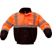 GSS Safety 8002 Class 3 Waterproof Quilt-Lined Bomber Jacket, Orange/Black, Medium