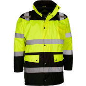 GSS Safety Hi-Visibility Class 3 Waterproof Parka Jacket W/Fleece Liner, Lime/Black, M