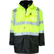 GSS Safety Hi-Visibility Class 3 7-In-1 All Seasons Waterproof & Breathable Jacket, Lime/Black, XL