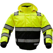 GSS Safety 8511 3-In-1 Bomber Jacket, Class 3, Lime/Black, M