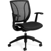 Global™ Roma Mesh Back Ergonomic Chair, Black Upholstered Seat