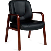 Offices To Go™ Guest Chair W/Wood Accents, Black Fabric Upholstery