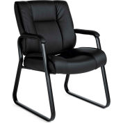 Offices To Go™ Luxhide Seating Guest Chair, Black Luxhide Upholstery