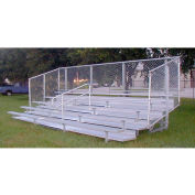 4 Row GTG Aluminum Bleacher with Mid-Aisle & Guard Rail, 27' Wide, Double Footboard