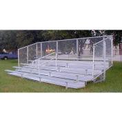 5 Row GTG Aluminum Bleacher with Mid-Aisle & Guard Rail, 15' Wide, Double Footboard