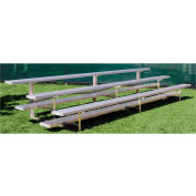 3 Row Low Rise Aluminum Bleacher, 27' Wide, Single Footboard
