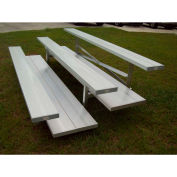 3 Row Low Rise Tip and Roll Aluminum Bleacher, 7-1/2' Wide, Double Footboard