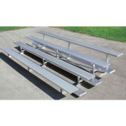 4 Row Universal Low Rise Tip and Roll Aluminum Bleacher, 7-1/2' Wide, Double Footboard