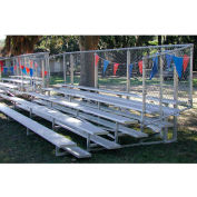 5 Row Universal Low Rise Aluminum Bleacher with Guard Rail, 27' Wide, Single Footboard