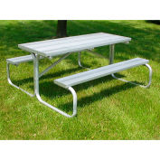 8' Aluminum Picnic Table with Anodized Aluminum Planking and Aluminum Frame