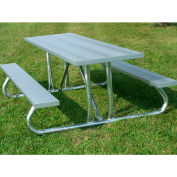 8' Picnic Table with Anodized Aluminum Planking and Heavy Duty Galvanized Steel Frame