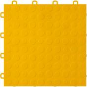 Block Tile B0US4430 Garage Flooring Interlocking Tiles, Coin Pattern, Yellow
