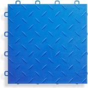 Block Tile B1US4527 Garage Flooring Interlocking Tiles, Diamond Pattern, Royal Blue