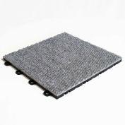Block Tile B4US4620 Interlocking Basement Floor Tiles, Carpet Pattern, Gray