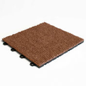 Block Tile B4US5220 Interlocking Basement Floor Tiles, Carpet Pattern, Tampico Brown