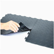 Block Tile P1US4216 Multi Purpose Flexible PVC Floor Tiles, Diamond Pattern, Black